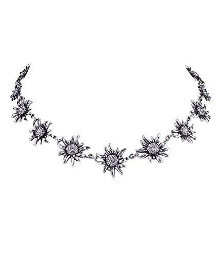 SIX Halskette mit Edelweiß und Strass, Dirndl, Oktoberfest, Wiesn, WASN, Kostüm, Karneval, Fasching, Verkleidung (758-641)