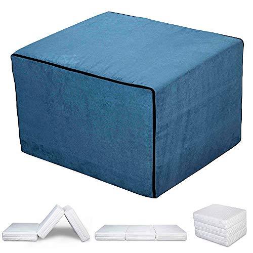 EvergreenWeb - Puff Cama con Colchón de Waterfoam de 15 cm de Altura - Suite Ahorra Espacio Plegable para Dormitorio y Sala, Otomana Reposapiés, Tela de Gamuza Lisa Color Azul Removible