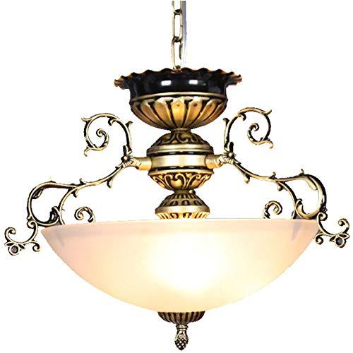 Kronleuchter Vintage Rund Eisen Art Lüster Deckenleuchte Antik Glas Lampeschirm Hängelampe Hängeleuchter Retro Disign Stil LED Pendelleuchte für Korridor Veranda Balkone Flur Bar Lampe mit E27 Sockel