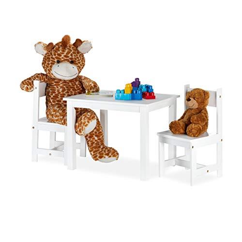 Relaxdays kinderzitgroep, schildertafel met 2 kinderstoelen, modern, kinderkamer, binnen, kinderzithoek van MDF, wit, 1 stuk