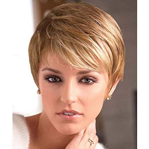 BECUS Short Pixie Cut Strawberry Blonde Wig with Bangs High Temperature Kanekalon Synthetic Silky Straight Realistic Wigs for Women with Wig Cap