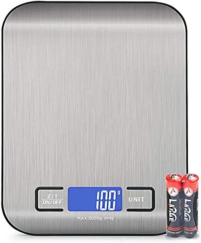 Vecoor Balance de Cuisine Numérique avec Chargement, Balance Alimentaire Électronique, écran LCD Lumineux, Balance Électronique de Haute Précision, Piles Fournies (5 kg Max.)