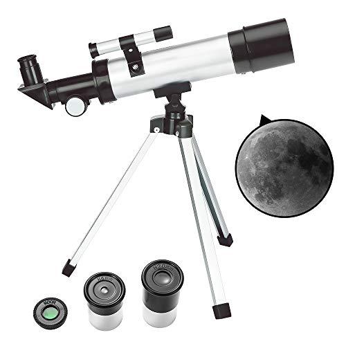 ToyerBee Teleskop Kinder & Anfänger – 50 mm Blende 360 mm astronomisches Refraktor Teleskop, Dreibein & Suchrohr & Mondfilter – transportables Reiseteleskop