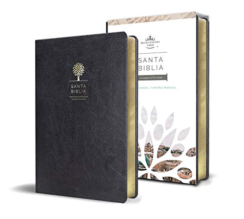Biblia Reina Valera 1960 letra grande. Símil piel color negro, tamaño manual / Spanish Holy Bible RVR 1960. Handy Size, Large Print, Black Leathersoft