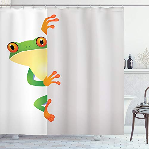 "Ambesonne Reptile Shower Curtain, Funky Frog Prince with Big Eyes on Wall Camouflage Nursery Reptiles Theme, Cloth Fabric Bathroom Decor Set with Hooks, 84"" Long Extra, Yellow Green"