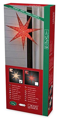 Konstsmide 2987-250 witte papieren ster, geperforeerd, met rood patroon en 7 punten, 78 x 78 cm/voor binnen (IP20) / 230 V binnen/zonder lamp/met aan/uit schakelaar/witte kabel