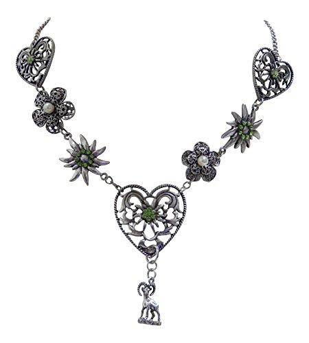 Trachtenschmuck Dirndl Kristalle Colllier - Altsilber-Farben - Edelweiss Herz und Blüten Kette (Grün)