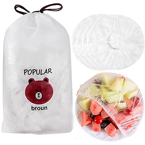 100/200 piezas Bolsas de Conservación Fresca Bolsas de Alimentos Frescos Elásticas Bolsas de Sellado Impermeables para Cubrir Platos Tazones Cubierta de Plástico Transparente para Alimentos (100)