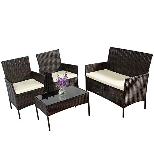 4 Pieces Outdoor Patio Furniture Set All-Weather Wicker Rattan Loveseat and Chairs Sofa Set with Tempered Glass Table, Cushioned Seats Conversation Sets for Garden, Lawn and Backyard (Brown)