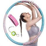 Hula Hoop Reifen mit Fitnessband und Messstab , Hula Hoop für Erwachsene & Kinder zur Gewichtsabnahme und Massage, EIN 6Teiliger Abnehmbarer Hula-Hoop-Reifen für Fitness/Training/ Bauchmuskelkonturen
