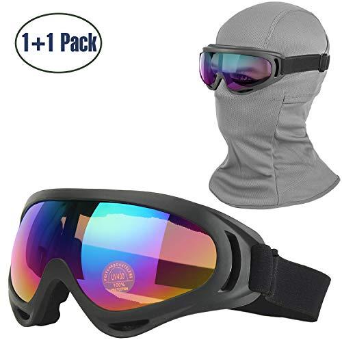 Balaclava & Ski Goggles Sets, Ultralight Balaclava Face Mask Windproof Ski Hood + UV400 Protection Anti-fog Ski Goggles for Cycling Biking Ski and Snowboard (gray mask +black goggles(color lens))