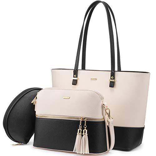 LOVEVOOK Handtasche Damen Schultertasche Handtaschen Tragetasche Damen Groß Designer Elegant Umhängetasche Henkeltasche Set 3-teiliges Set (Beige-schwarz)