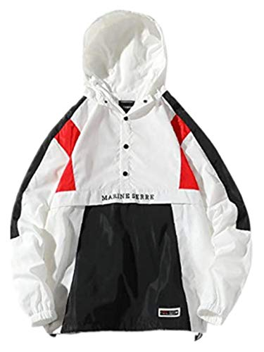 TEBAISE Herren Windbreaker Outdoor Jacket with Hood Waterproof Breathable w-x-weiß 54 us