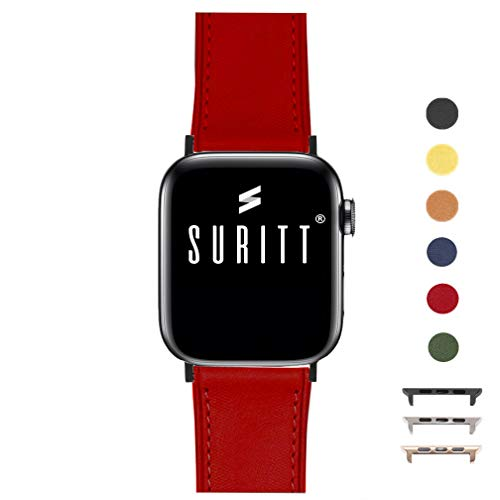 Suritt ® Correa para Apple Watch de Piel Rio (6 Colores Disponibles). 3 Colores de Hebilla y Adaptador para Elegir (Negro - Plata - Oro)(Series 1, 2, 3 y 4). (42mm / 44mm, Red/Black)