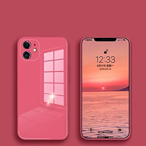 Custodia in vetro liquido per iPhone 12 11 Pro XS Max X XR 7 8 Plus SE2 2020 Custodia protettiva colorata resistente ai graffi con cover posteriore, Camelia Red, per iphone 6 6S