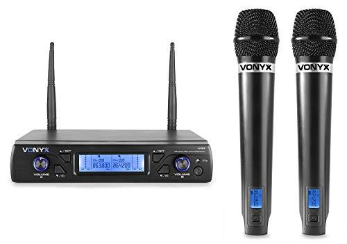 Vonyx WM62 2 Draadloze Microfoons en Ontvanger - 16 Kanaals UHF