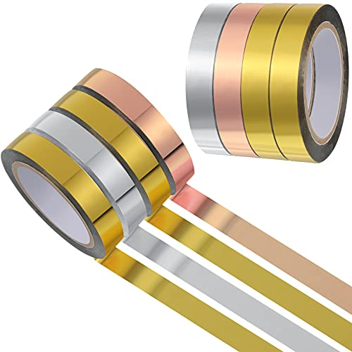 4 Pieces Graphic Art Tape Metallic Washi Mirror Tape DIY Graphic Tape Metallic Mirror Wrapping for Crafts Decoration, 3/8 Inch x 88 Yards (Gold, Silver, Rose Gold)