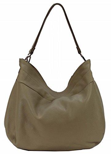 BZNA Bag Lena Beige Italy Designer Damen Handtasche Schultertasche Ledertasche Tasche Wildleder Prägung Shopper Neu