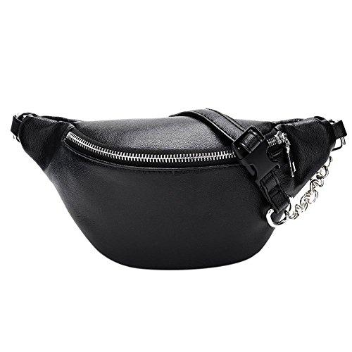 Riñonera Mujer Negra, Everpert Cintura Mujeres Cremallera Hombro Cinturón Crossbody Bolso (Negro) (Varios)