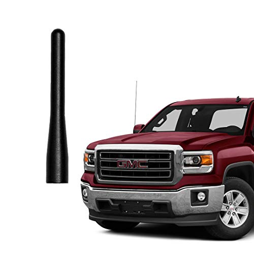 GM Truck Short Radio Antenna, Compatible with 1999-2021 Chevy Silverado GMC Sierra 1500 2500 3500 Truck Pickup Direct Replacement Antenna Rod, Matte Black 3.6 Inch 6061 Aluminum, Car Wash Safe Proof
