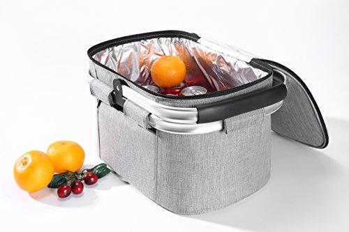 EHC Picknick-Einkaufstasche, isoliert, mit Reißverschluss und klappbaren Aluminiumgriffen, Grau