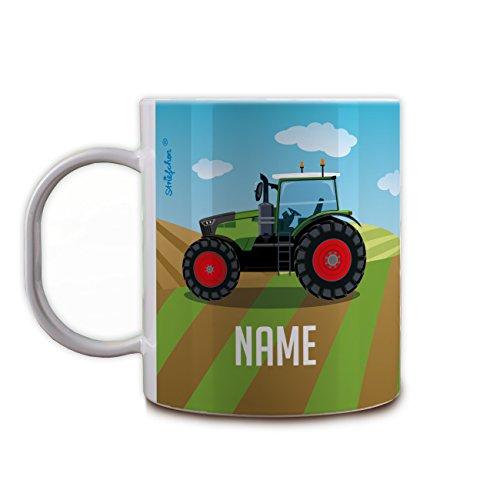 Striefchen® Kunststoff Kindertasse - Traktor - mit Namen des Kindes