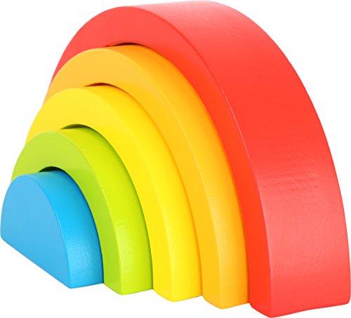 Small Foot- Juguetes de Habilidades motoras para bebés Arco Iris con Cinco Colores y Formas Diferentes, Juego de Agarre Ideal para los Primeros Meses (10585)