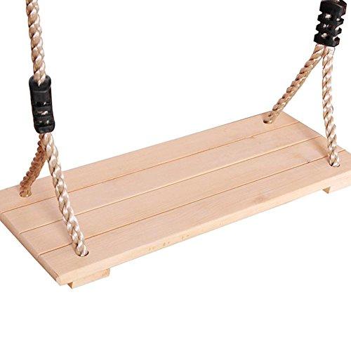 Gereton Bois balançoire à suspendre Arbre balançoire pour adultes enfants de haute qualité poli Four-board anti-corrosion Jeux de jardin extérieur/intérieur (Ligne de pression - couleurs aléatoires)