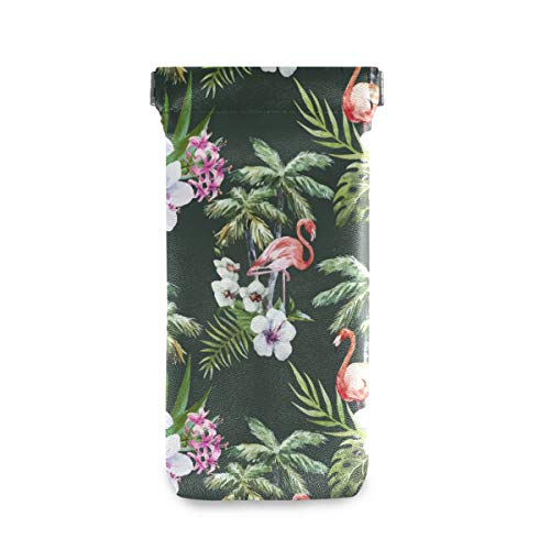 XiangHeFu Soporte para bolsa de gafas Flamenco escolar portátil con funda de gafas de sol de hoja de palma Funda de gafas de sol Multiuso