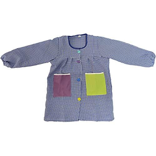 Bata Escolar con Bolsillos de Tela 100% Poliester,Babi guarderia, mandilon colegial con Botones.Fabricado en E.U Anti Pilling Suave(Azul, 10-11 años)