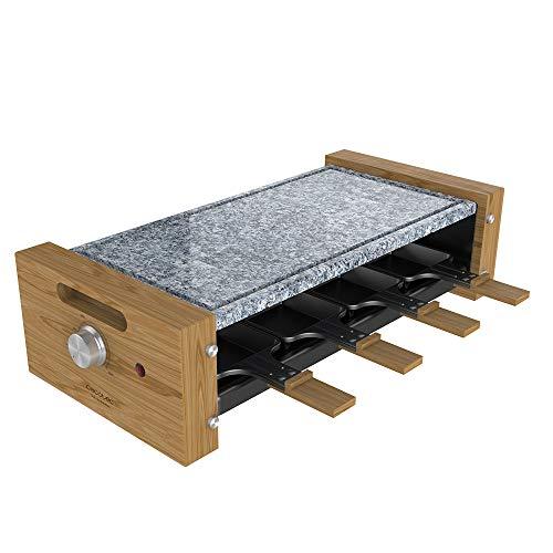 Cecotec Raclette Cheese&Grill 8600 Wood AllStone. Potencia 1200 W, Placa piedra natural, 8 sartenes individuales, Termostato, Diseño extraíble