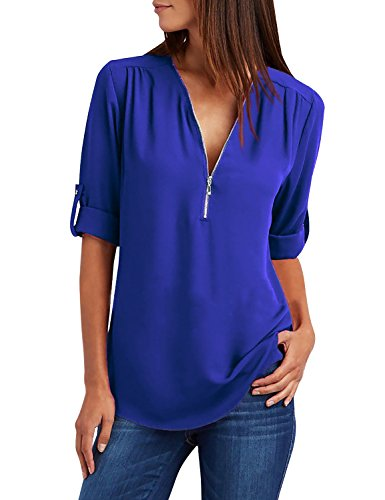 Cassiecy Bluse Damen Chiffon Elegant V-Ausschnitt Reißverschluss Tunika Oberteile Langarmshirts Casual T-Shirt Tops(Blau,s)