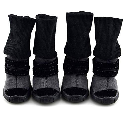 TOHHOT 4-delig/set huisdier hond herfst winter anti-slip schoenen puppy sneeuw laarzen warme verdikking hoge schoenen booties set