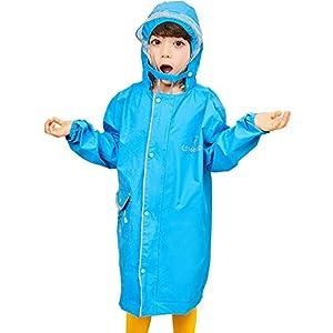 レインコート女の子 レインウェア 男の子 キッズ バイザー付き raincoat 子供用 防水 カッパ リュック 対応 通学 雨具 携帯ポーチ 付き (L(135-150cm), ブルー)