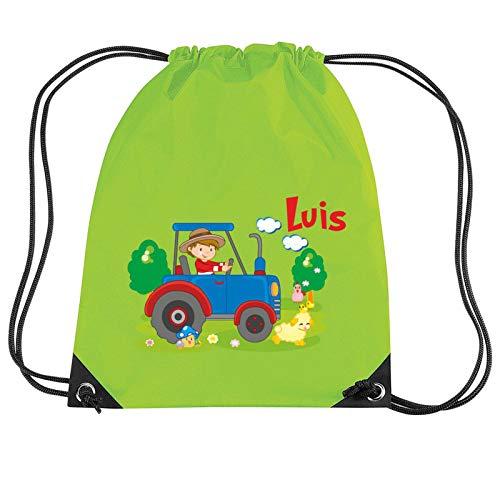 Mein Zwergenland Turnbeutel Sportsack mit Name Traktor Bauernhof, 10 L, Lime