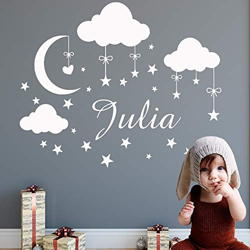 HGFDHG Aduana Nombre Nube Luna Estrellas Pegatinas de Pared calcomanías artísticas de Vinilo para niños decoración de la habitación del bebé decoración del Dormitorio de Las niñas