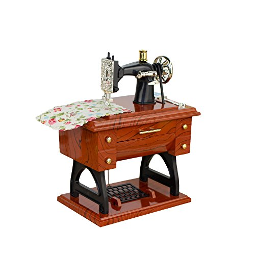 BaSeng Vintage Music Box Mini Sewing Machine Style Mechanical Simulation Sewing Machine Music Box Retro Treadle Sartorius Decoration as Gifts