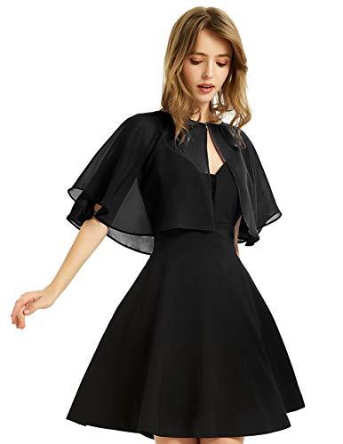 Soft Chiffon Shawl Wraps Shrug for Evening Wedding Women Accessories(Black)