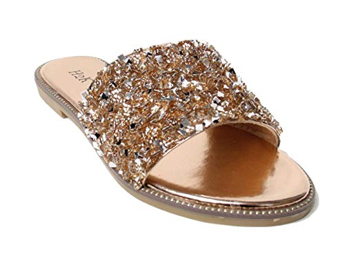 H2K Womens Glitter Bling Jewel Stone Fancy Slide Flat Low Wedge Sandals Shoes Dream (11 B(M) US, Rose Gold)