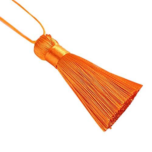 Gemini_mall - Portachiavi con nappa, 5 cm, idea regalo per creazione di gioielli, progetti fai da te, segnalibri, arancione, giallo