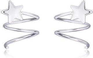 Belons Pendientes de aro para niñas de plata de ley 925 con diseño de estrella en espiral y línea ondulada para mujer