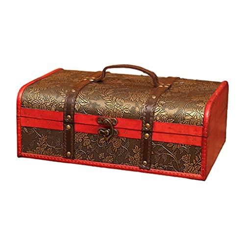 NJBYX Caja de madera de madera de madera vintage cajas de regalo de embalaje doble botella de almacenamiento portador (Color : F, Size : 8.66x5.12x14.17in)