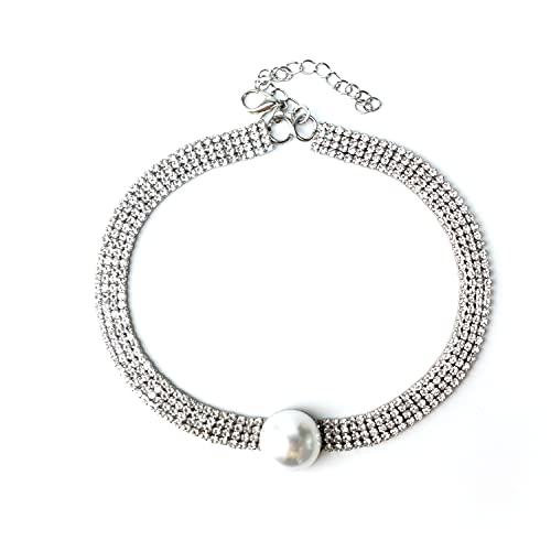 Cadena de Clavícula Para Mujer Collar de Joyería de Cuello Corto,Collar de banda Moda Personalidad Collar de Perlas de Diamantes de Imitación-INS