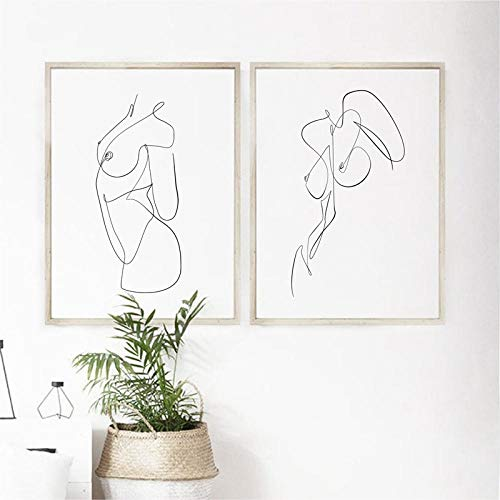 DNJKSA Nude Body Abstract One Line Drawing Art Painting Picture Feminine Naked Woman Figure Erotic Wall Art Canvas Prints Bedroom Decor/50x70cmx2Pcs-No Frame