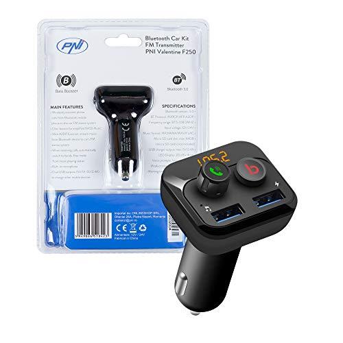 Modulatore FM PNI Valentine F250 Bluetooth 5.0, lettore MP3, trasmettitore FM, slot micro SD, doppia porta USB, dispositivi mobili a ricarica rapida, pulsante super bass