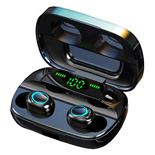 Luisport True Wireless Earbuds TWS Bluetooth 5.0 Earbuds with LED Battery Display Wireless Earphones with Charging Case Stereo Sound (1-Black)