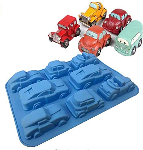 zmgmsmh 1 Pack Silicone Carton Car Mold Baking Molds Bakeware for Birthday Theme Party, Muffin Cups, Ice Cube, Soap, Wafer, Cake, Bread, Tart, Pie and More