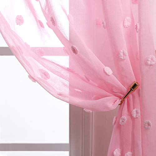 Pink Curtains 63 Inch Length for Girls Room 2 Panels Rod Pocket Lace Floral Pom Pom Textured Sheer Closet Curtains for Bedroom Closet Door Girls Little Princess Teen Kids Baby Nursery Decor Light Pink