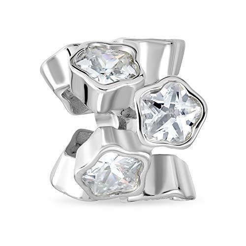 Blanco cúbico Zirconia CZ bisel conjunto de racimo estrella flor espaciador encanto cuenta para las mujeres novia .925 plata de ley se adapta pulsera europea