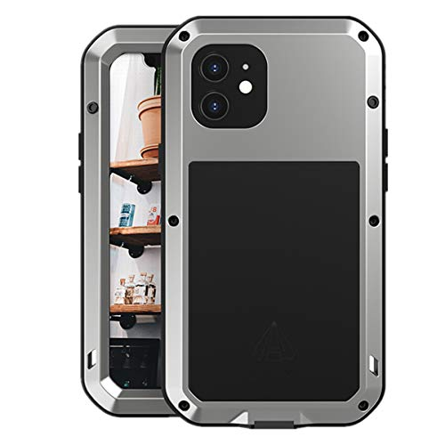 Love Mei para iPhone 12 Funda, Impermeable Militar Antichoque a Prueba de Polvo Cubierta Híbrido Metal Aluminio+Silicona Antigolpes Carcasa con Vidrio Templado para iPhone 12 (Plata)
